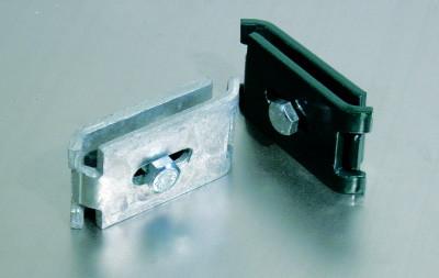 Gittermattenverbinder flach RAL6005, 6 Sets