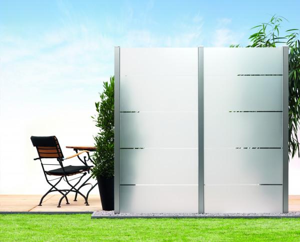 Sichtschutz-Glas Blockstreifen 90 x 180/90 cm Schräge links