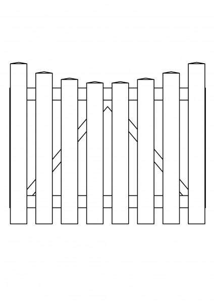 Pforte Bogen unten, B=1,00 m, H=0,80 m, komplett weiß