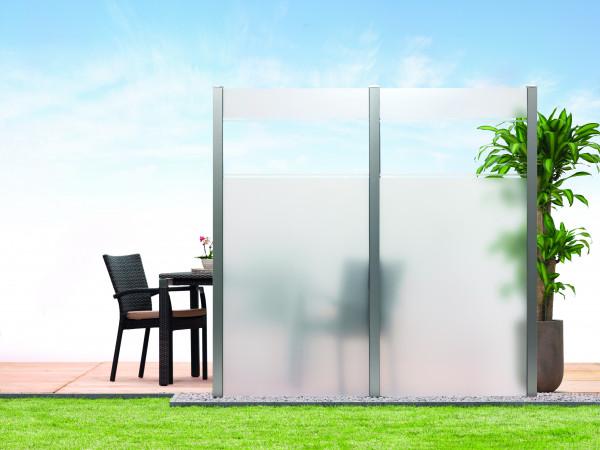Sichtschutz-Glas Kombi-Streifen 90 x 180/90 cm Schräge links