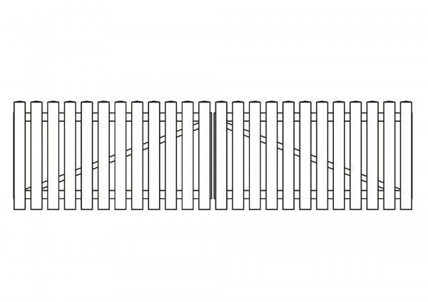 Doppeltor gerade, B=3,00 m, H=0,80 m, komplett weiß