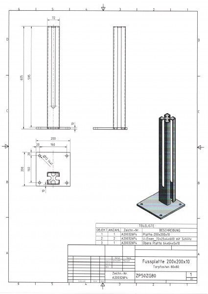 Fußplatte mit Rohrstutzen für Torpfosten 80 x 80 mm, Platte 200 x 200 x 10 mm