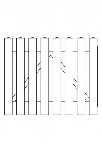 Pforte gerade, B=1,00 m, H=0,80 m, komplett weiß
