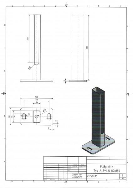 Fußplatte schmal mit Rohrstutzen für Typ A / PM / U, Platte 80 x 150 mm RAL9006