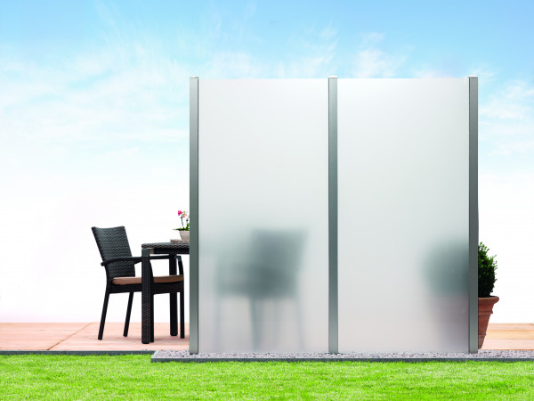 Sichtschutz-Glas Mattweis 90 x 180/90 cm, Schräge rechts