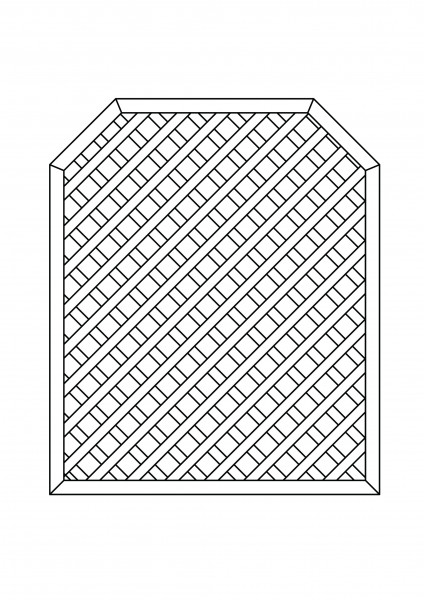 Rankgitter rechteckig, mit 2 Schrägen, B = 1,00 x H = 1,80 / 1,50 m