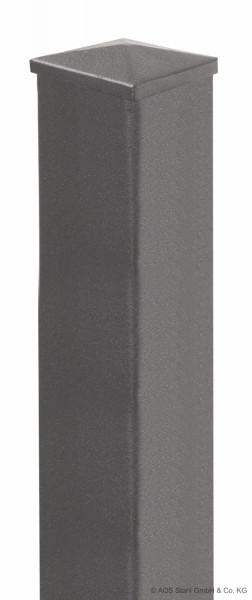 Stabgitter-Pfosten 60 x 60 x 1550 mm RAL 7016 mit angeschw. Fußplatte