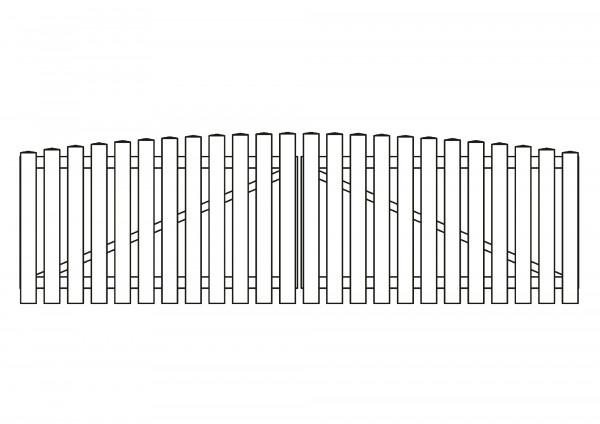 Doppeltor Bogen oben, B=3,00 m, H=0,80 m, komplett weiß