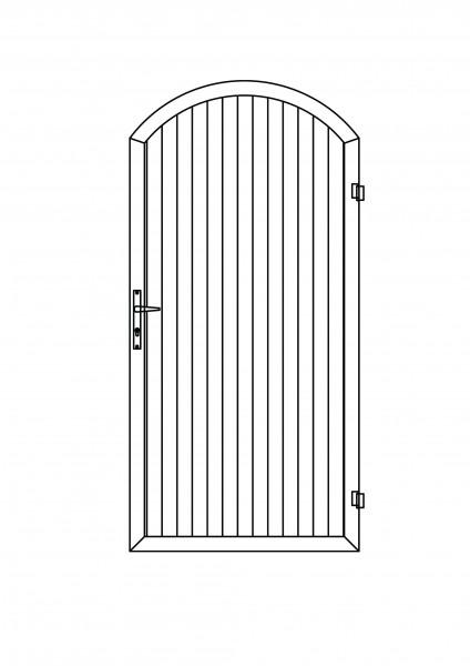 Sichtschutz-Tür mit Bogen oben B = 1,00 x H = 1,80/2,05 m