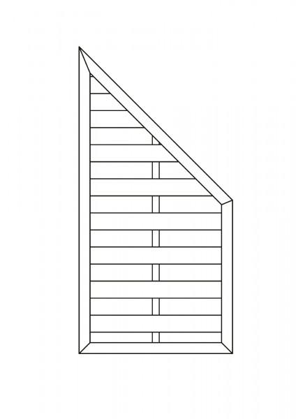 Flechtzaun-Abschluss mit 1 Schräge B = 0,90 x H = 1,80 / 0,90 m