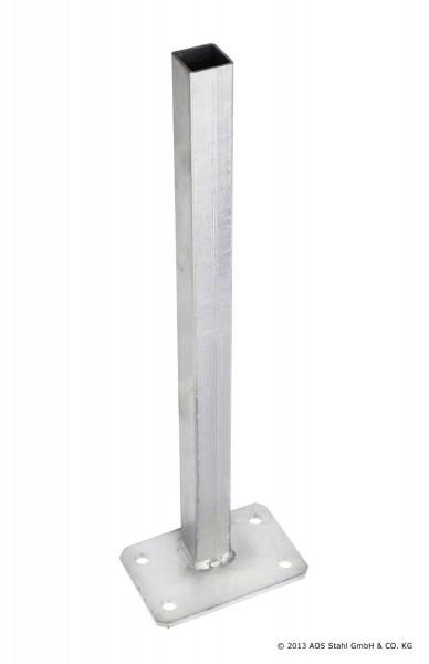Fußplatte mit Rohrstutzen Typ A Eck verzinkt