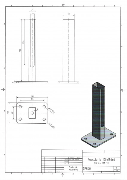 Fußplatte mit Rohrstutzen Typ A / PM / U Platte 100 x 150 x 6 mm RAL 7016