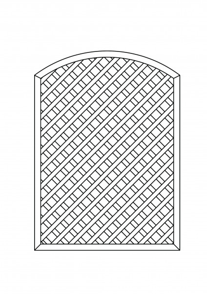 Rankgitter rechteckig mit Bogen oben, B = 1,50 x H = 1,80 / 2,05 m