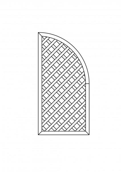 Rankgitter Abschluss, mit Bogen, B = 0,90 x H = 1,80 / 0,90 m