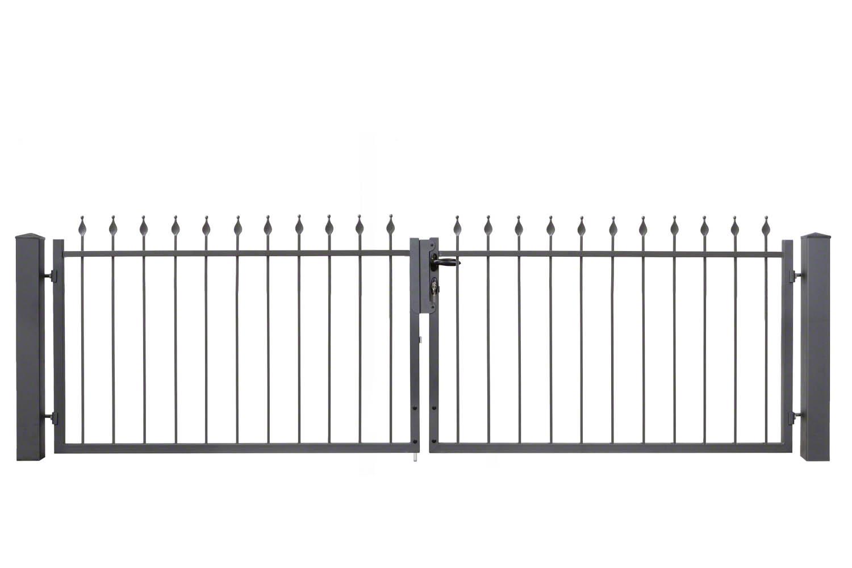 2fl geliges schmiedezauntor typ berlin 3245x1000 mm silbergrau verzinkt berlin. Black Bedroom Furniture Sets. Home Design Ideas