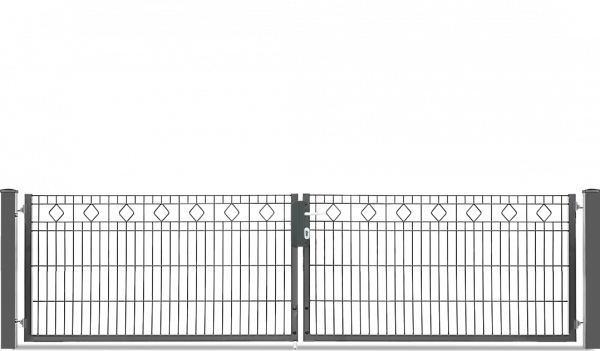 Schmucktor BARCELONA 2-flügelig H=0,80 m, LW=3,30 m RAL7016