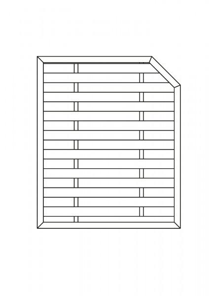 Flechtzaun mit 1 Schräge B = 1,50 x H = 1,80 / 1,50 m