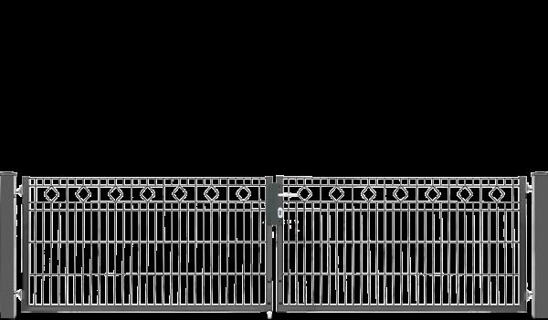 Schmucktor BARCELONA 2-flügelig H=0,80 m, LW=3,30 m RAL6005
