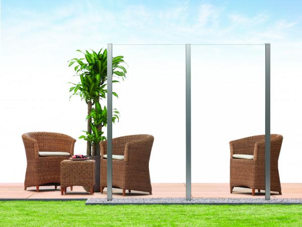 Sichtschutz-Glas Klarglas 90 x 180/90 cm, Schräge links