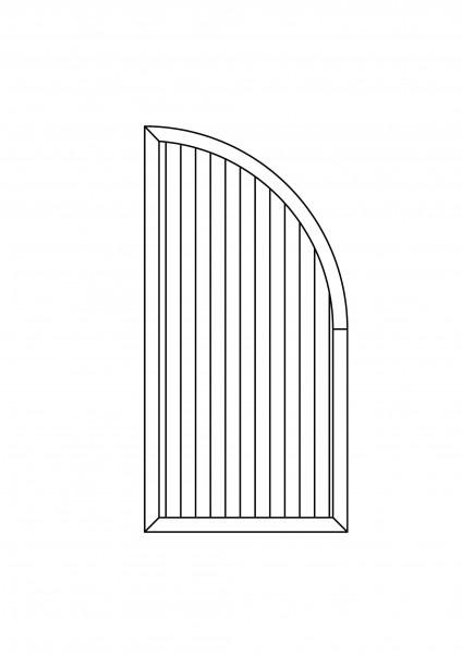Sichtschutz-Element mit Abschluss-Bogen B = 0,90 x H = 1,80/0,90 m