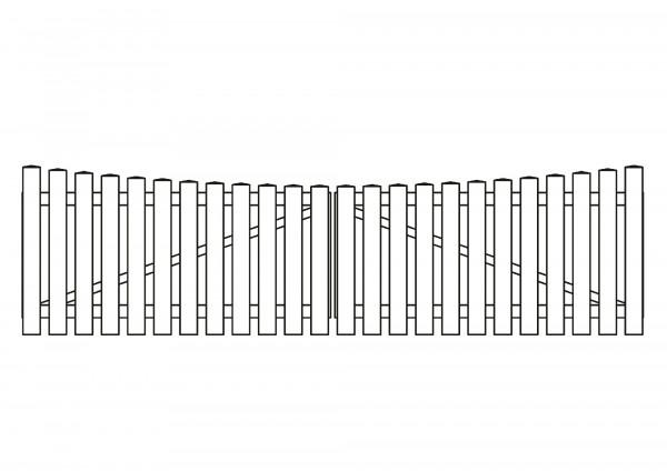 Doppeltor Bogen unten, B=3,00 m, H=0,80 m, komplett weiß